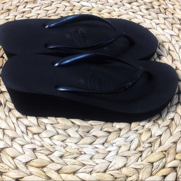 e3e4825134c4 Havaianas Shoes - Havaianas High Black Flip Flop Wedges Size 8.5